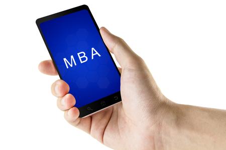 economia aziendale: Master of Business Administration MBA o parola sul telefono digitale intelligente