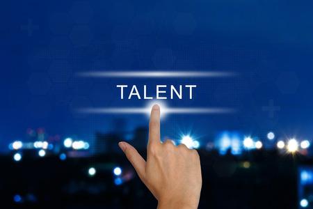 hand clicking talent button on a touch screen interface Standard-Bild