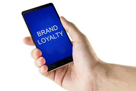 repurchase: brand loyalty word on digital smart phone isolated white background