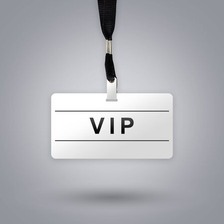 private party: VIP or Very Important Person on badge with grey radial gradient background