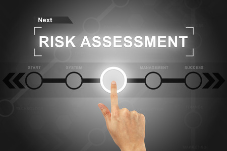 investing risk: hand clicking risk assessment button on a touch screen
