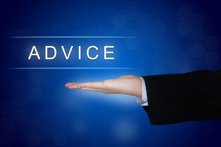 Advice button with business hand on blue background Stock Photo