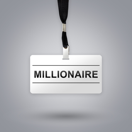 millionaire: millionaire on badge with grey radial gradient background