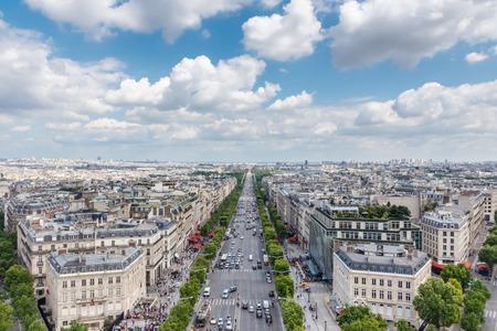 paris street: View on Paris from Arc de Triomphe, Champs elysees Avenue, France