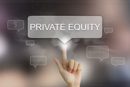 equity: hand pushing on private equity balloon text button Stock Photo
