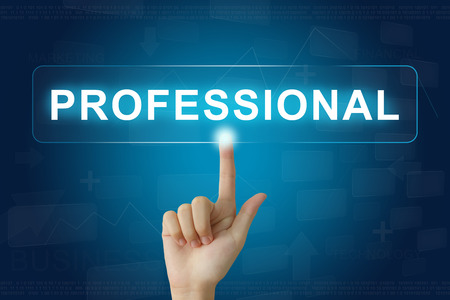 financial executive: hand press on professional button on virtual screen