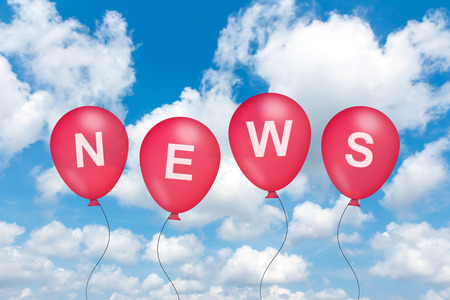 news text on balloon with blue sky background photo