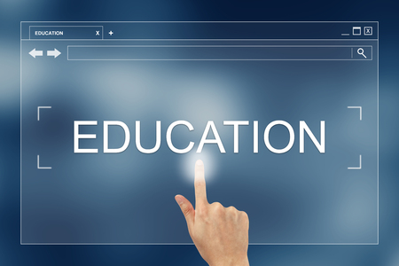 hand press: hand press on education button on webpage