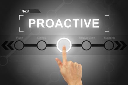 hand clicking proactive button on a touch screen Standard-Bild