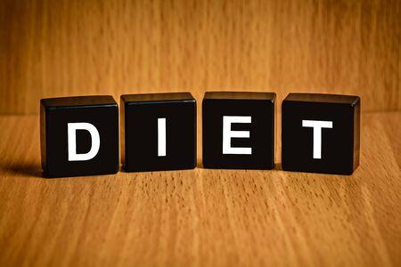 black block: dieta saludable de texto en el bloque negro, concepto de salud