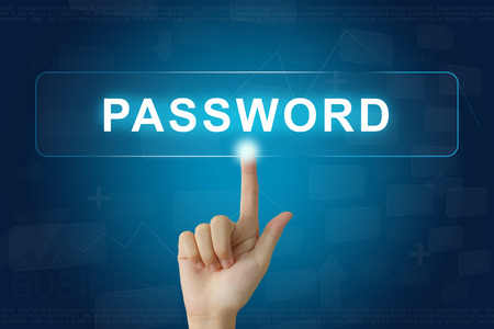 logon: hand press on password button on virtual screen