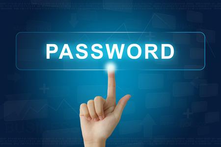 logon: hand press on password button on virtual screen