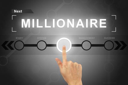 hombre millonario: clic mano botón millonario en una pantalla táctil