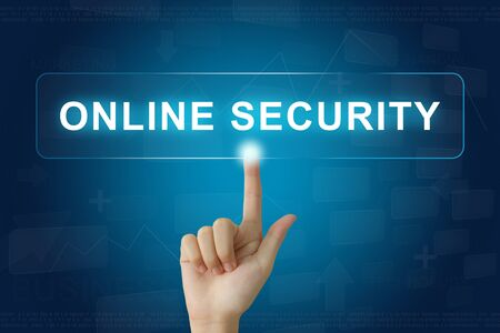 hand press: hand press on online security button on virtual screen Stock Photo