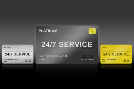 24x7: 24 hours a day, 7 days a week platinum card on black background
