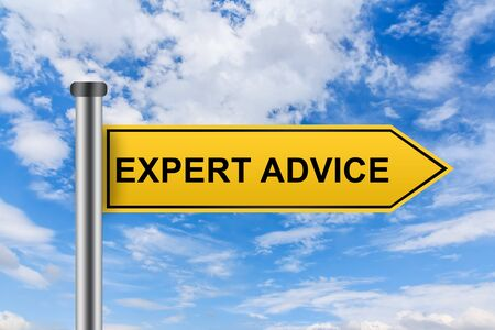 shopping questions: expert advice words on yellow road sign on blue sky Stock Photo