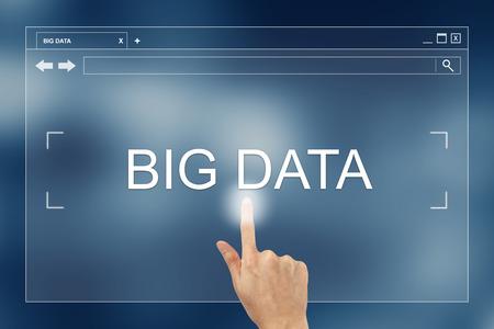 hand press: hand press on big data button on webpage