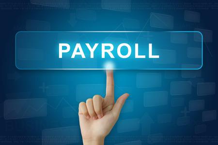 hand press on payroll button on virtual screen