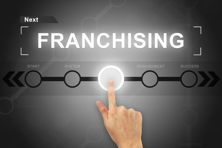 distribute: hand clicking franchising button on a touch screen Stock Photo