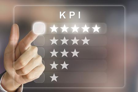 evaluacion: KPI lado clic negocio o Key Performance Indicator en la interfaz de pantalla virtual Foto de archivo