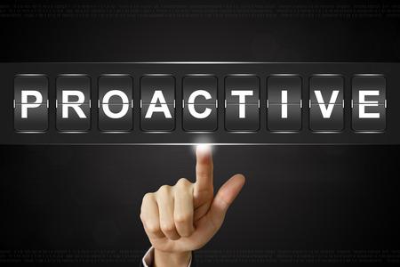 business hand pushing proactive on Flipboard Display