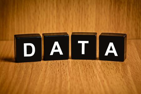 black block: texto de datos de información en el bloque negro Foto de archivo