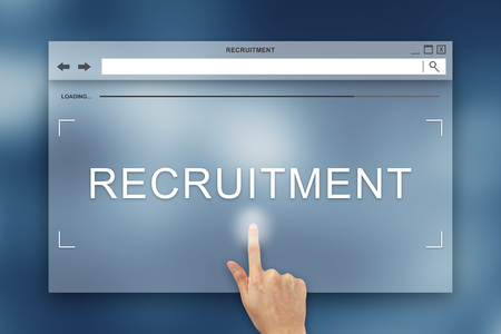 hand press: hand press on recruitment button on webpage Stock Photo
