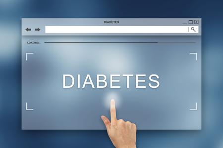 hand press on diabetes button on webpage photo