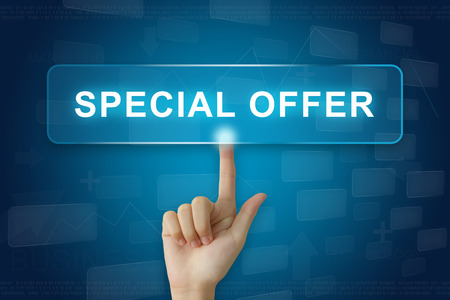 special sale: hand press on special offer button on virtual screen Stock Photo