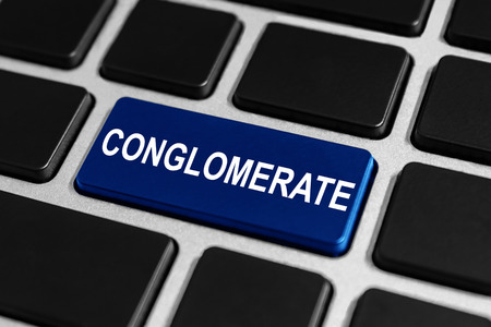 conglomerate: business conglomerate button on keyboard, business concept Stock Photo