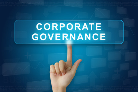 government regulations: hand press on corporate governance or CG button on virtual screen