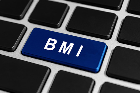 BMI: BMI or Body Mass Index blue button on keyboard, healthcare concept