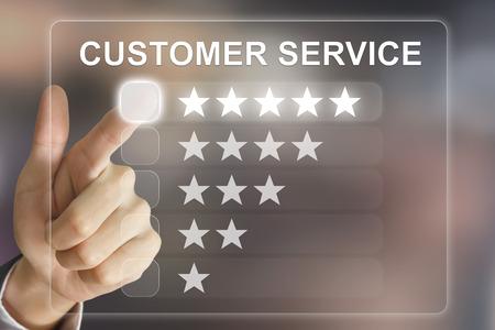가상 스크린 인터페이스에 비즈니스 손 클릭 고객 서비스 스톡 콘텐츠