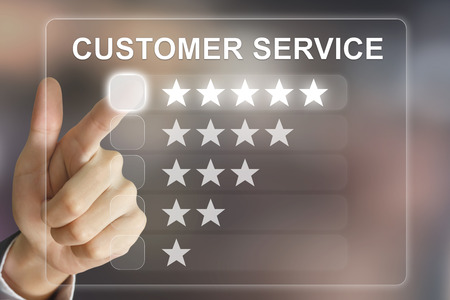 business hand clicking customer service on virtual screen interface