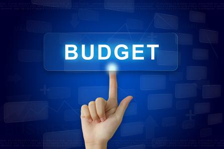 hand press: hand press on budget button on virtual screen