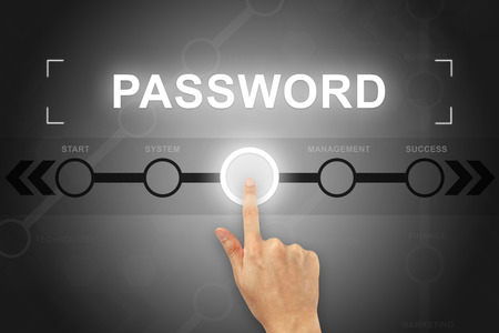 logon: hand clicking password button on a touch screen