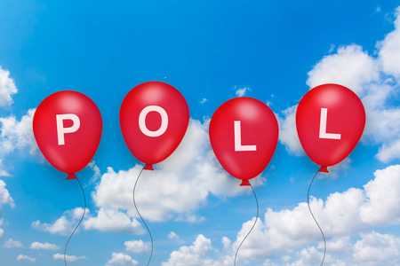 poll: political poll text on balloon with blue sky background Stock Photo