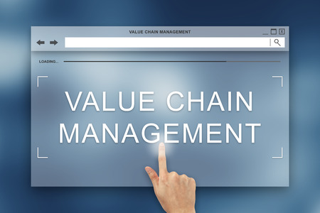 hand press: hand press on value chain management button on webpage