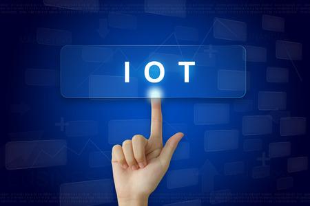 presse à la main sur IOT ou Internet du bouton choses sur l'écran virtuel