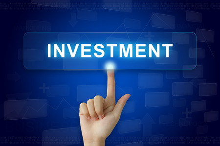 hand press: hand press on investment button on virtual screen
