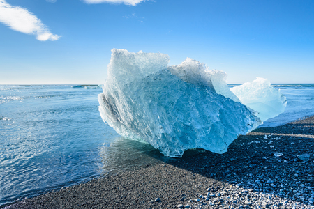 lake: blue iceberg in Jokulsarlon, a large glacier lake in south Iceland