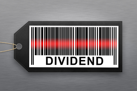 passive earnings: dividend barcode with stainless steel background