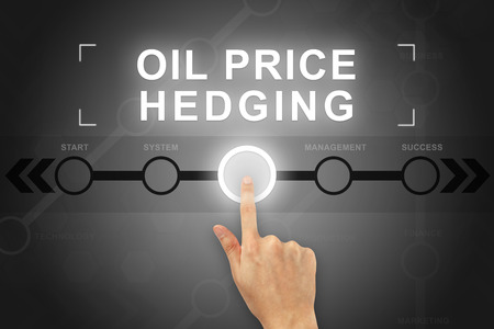 hedging: hand clicking oil price hedging button on a touch screen Stock Photo