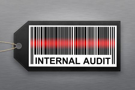 auditoria: c�digo de barras de auditor�a interna con el fondo de acero inoxidable