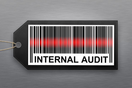 financial audit: internal audit barcode with stainless steel background