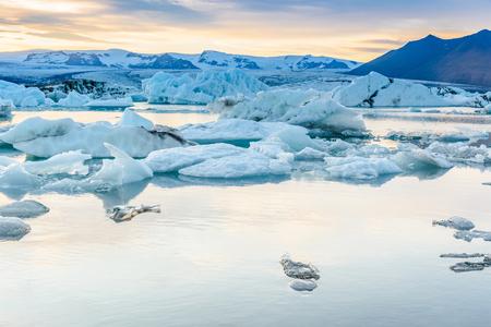 jokulsarlon: Beautiful view of icebergs in Jokulsarlon glacier lagoon, Iceland;  selective focus