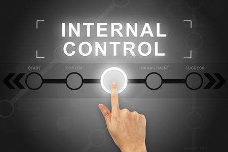 cliquant sur le bouton de contrôle interne sur un écran tactile main