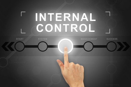 hand clicking internal control button on a touch screen