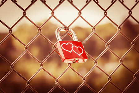 fence: Lockers symbolizing love forever on the fence with warm tone style