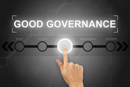 gobierno corporativo: Mano que hace clic botón de buen gobierno en una pantalla táctil